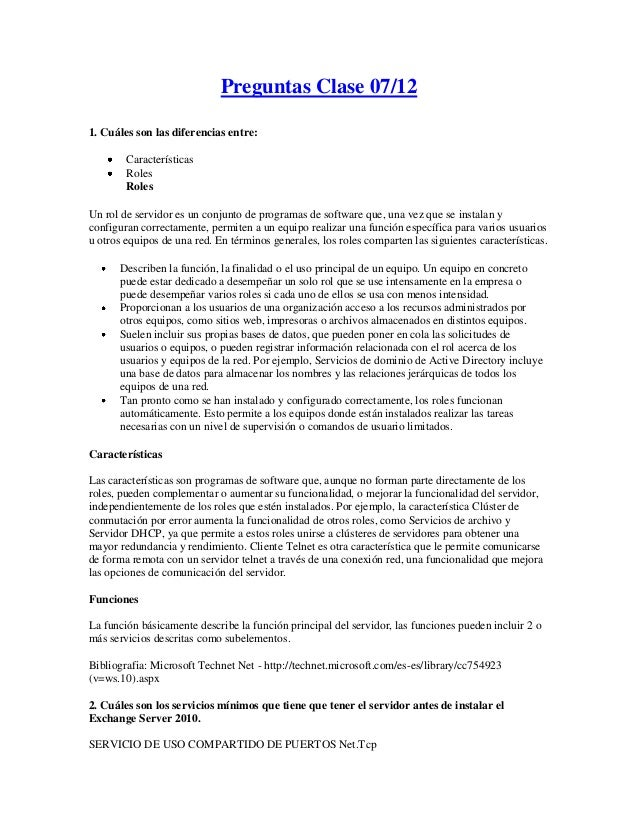 Preguntas Clase 07/121. Cuáles son las diferencias entre:        Características        Roles        RolesUn rol de servid...