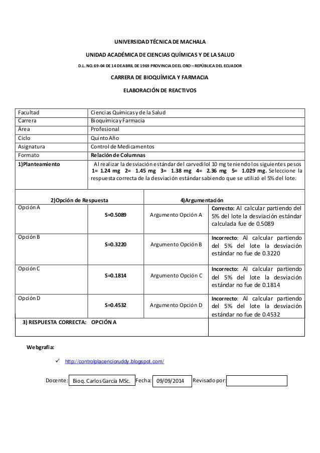 UNIVERSIDAD TÉCNICA DE MACHALA  UNIDAD ACADÉMICA DE CIENCIAS QUÍMICAS Y DE LA SALUD  D.L. NO. 69-04 DE 14 DE ABRIL DE 1969...