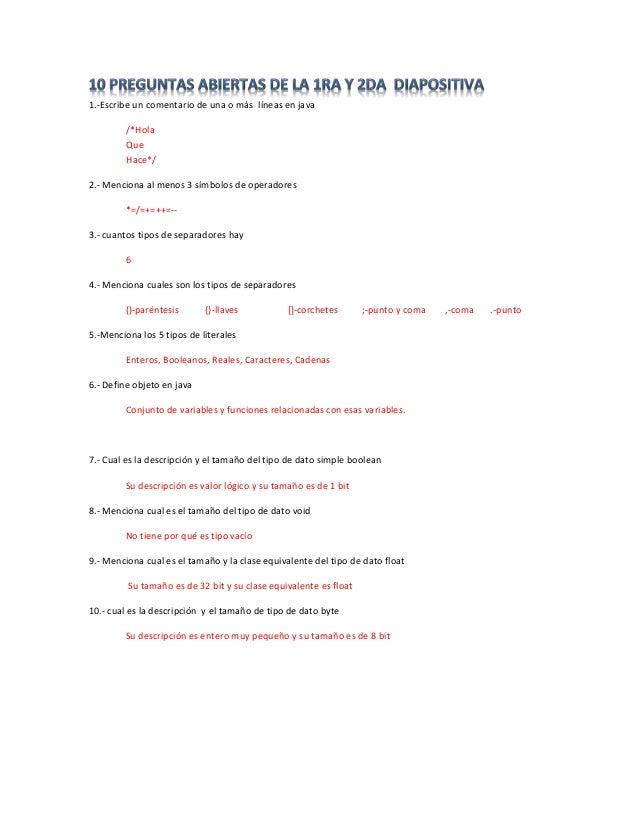 1.-Escribe un comentario de una o más líneas en java  /*Hola  Que  Hace*/  2.- Menciona al menos 3 símbolos de operadores ...