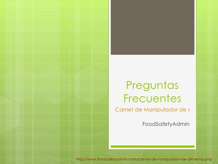 Preguntas                        Frecuentes                   Carnet de Manipulador de Alimentos                          ...
