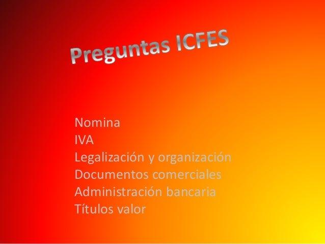 Nomina IVA Legalización y organización Documentos comerciales Administración bancaria Títulos valor
