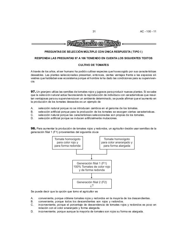 31 AC - 100 - 11 PREGUNTAS DE SELECCIÓN MÚLTIPLE CON ÚNICA RESPUESTA ( TIPO I ) RESPONDA LAS PREGUNTAS 97 A 106 TENIENDO E...
