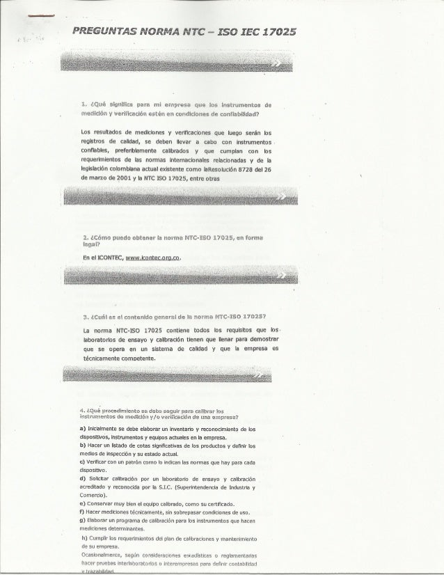 Preguntas norma NTC  ISO IEC 17025