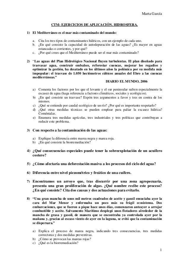 Marta García CTM- EJERCICIOS DE APLICACIÓN. HIDROSFERA. 1) El Mediterráneo es el mar más contaminado del mundo: a. Cita lo...