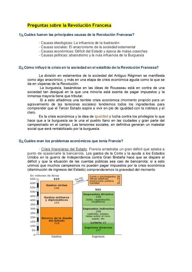 Preguntas sobre la Revolución Francesa 1)¿Cuáles fueron las principales causas de la Revolución Francesa? - Causas ideológ...
