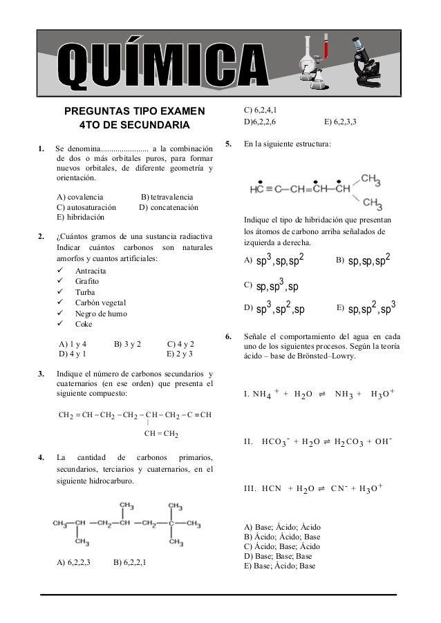 Preguntas Tipo Examen 4to Secundaria