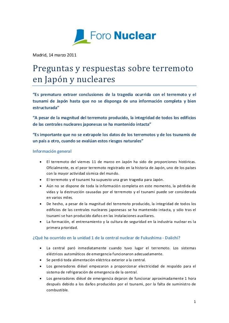 """Madrid,14marzo2011PreguntasyrespuestassobreterremotoenJapónynucleares""""Es prematuro extraer conclusiones..."""