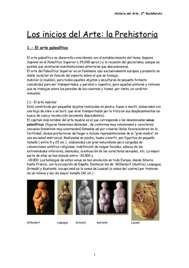 Historia del Arte. 2º Bachillerato Los inicios del Arte: la Prehistoria 1.- El arte paleolítico El arte paleolítico se des...