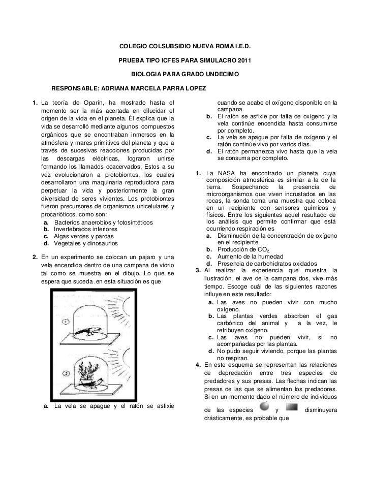 COLEGIO COLSUBSIDIO NUEVA ROMA I.E.D.                                PRUEBA TIPO ICFES PARA SIMULACRO 2011                ...