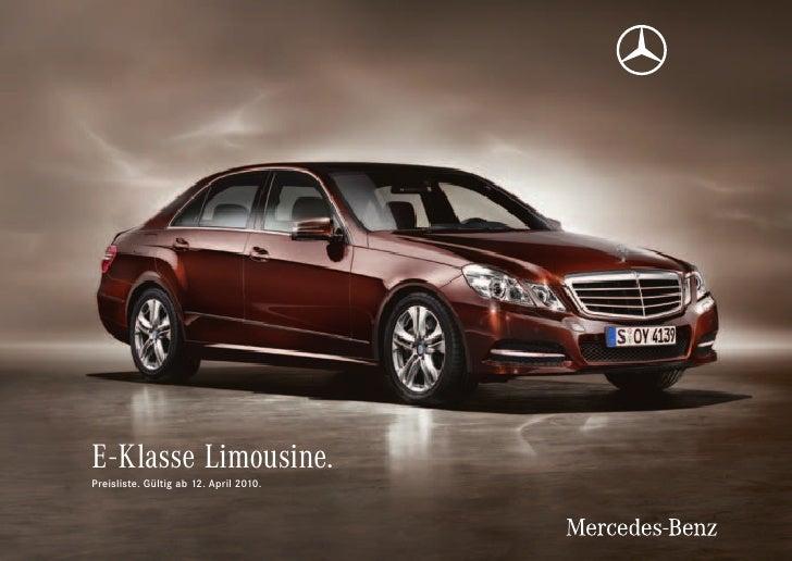 E-KlasseLimousine. Preisliste. Gültig ab 12. April 2010.