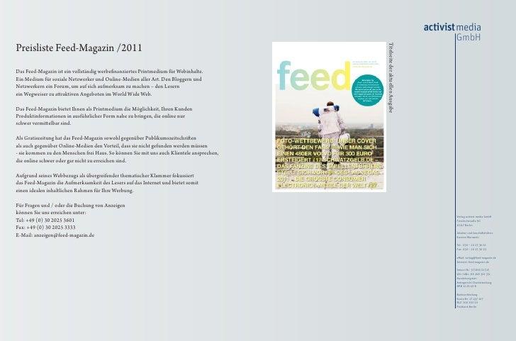 Preisliste feed Magazin 2011