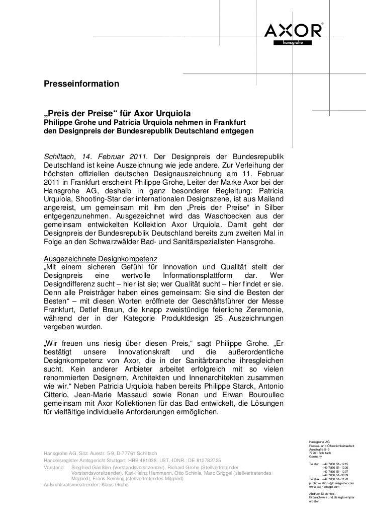 """Presseinformation""""Preis der Preise"""" für Axor UrquiolaPhilippe Grohe und Patricia Urquiola nehmen in Frankfurtden Designpre..."""