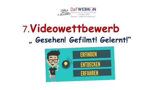 """7.Videowettbewerb """" Gesehen! Gefilmt! Gelernt!"""""""