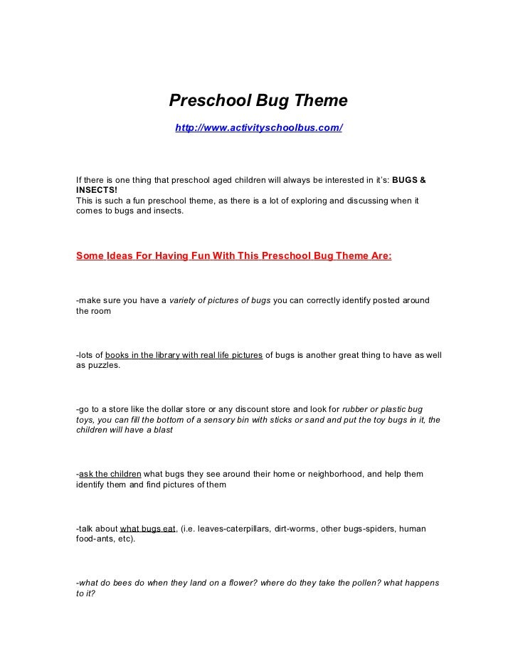 Preschool Lesson Plan Bugs  Insect Theme Lesson