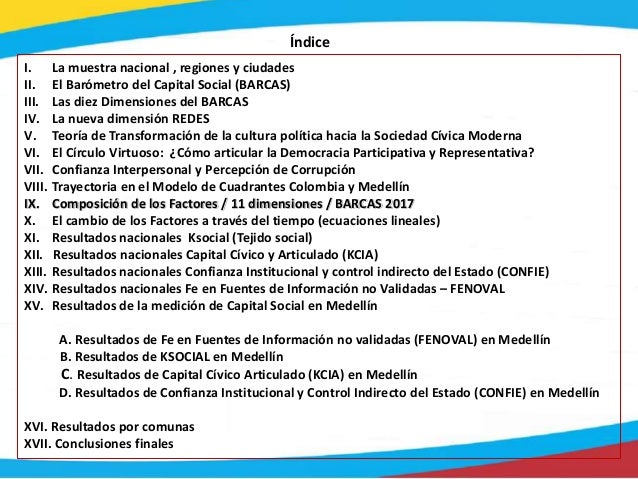 Índice I. La muestra nacional , regiones y ciudades II. El Barómetro del Capital Social (BARCAS) III. Las diez Dimensiones...