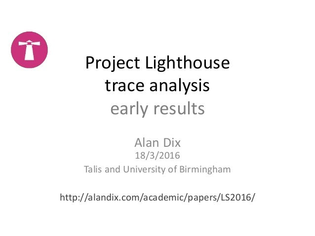 Project Lighthouse trace analysis early results Alan Dix 18/3/2016 Talis and University of Birmingham http://alandix.com/a...