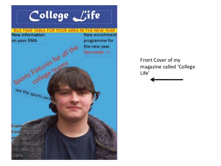Front Cover of my magazine called 'College Life'<br />