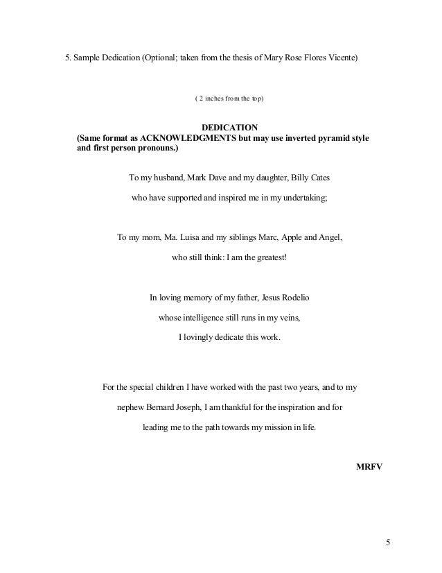 sample thesis dedication