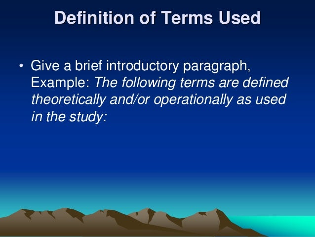 Dissertation definition of terms