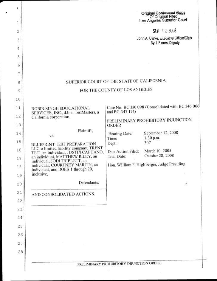 Blueprint Injunction