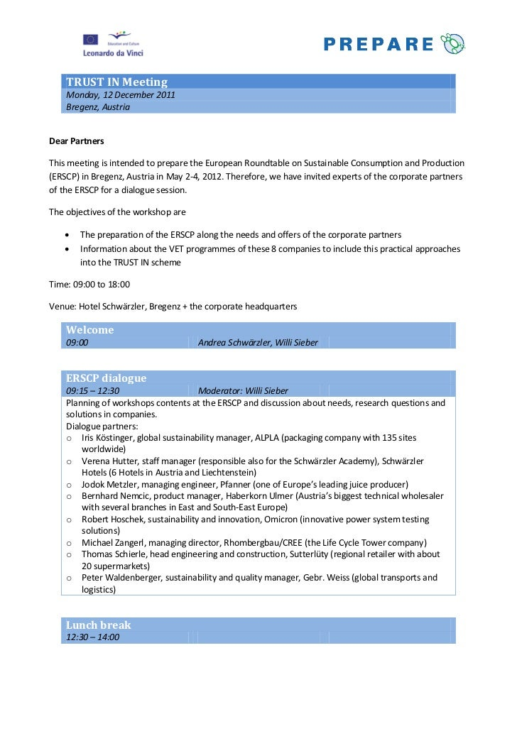 TRUST IN Meeting    Monday, 12 December 2011    Bregenz, AustriaDear PartnersThis meeting is intended to prepare the Europ...