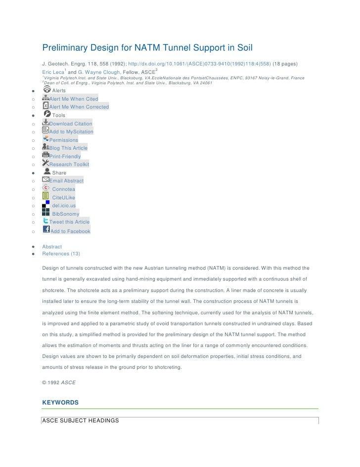 Preliminary Design for NATM Tunnel Support in Soil    J. Geotech. Engrg. 118, 558 (1992); http://dx.doi.org/10.1061/(ASCE)...