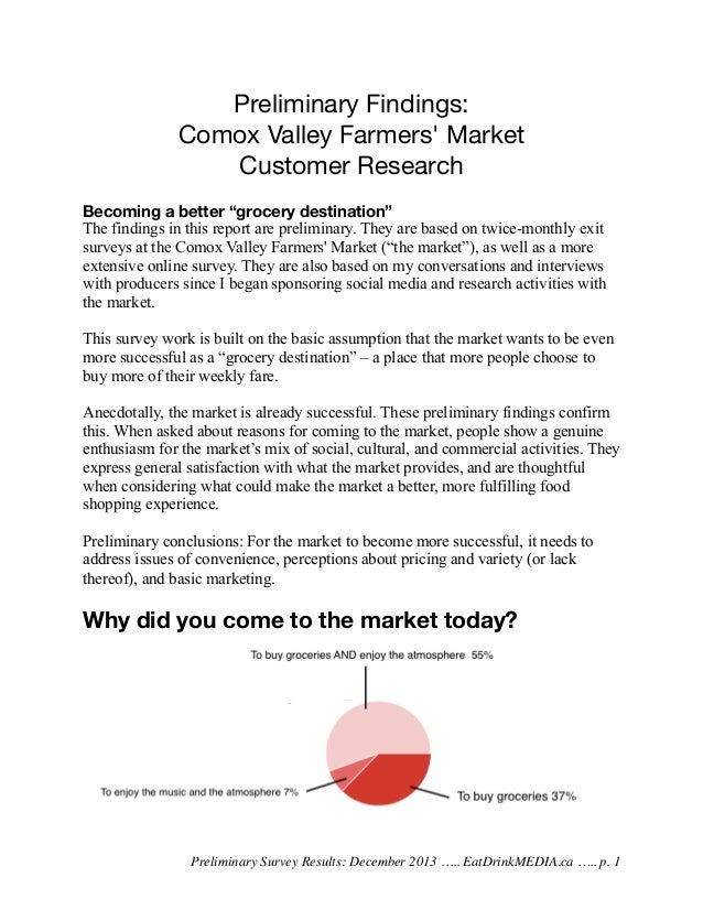 "Preliminary Findings: Comox Valley Farmers' Market Customer Research Becoming a better ""grocery destination"" The findings ..."