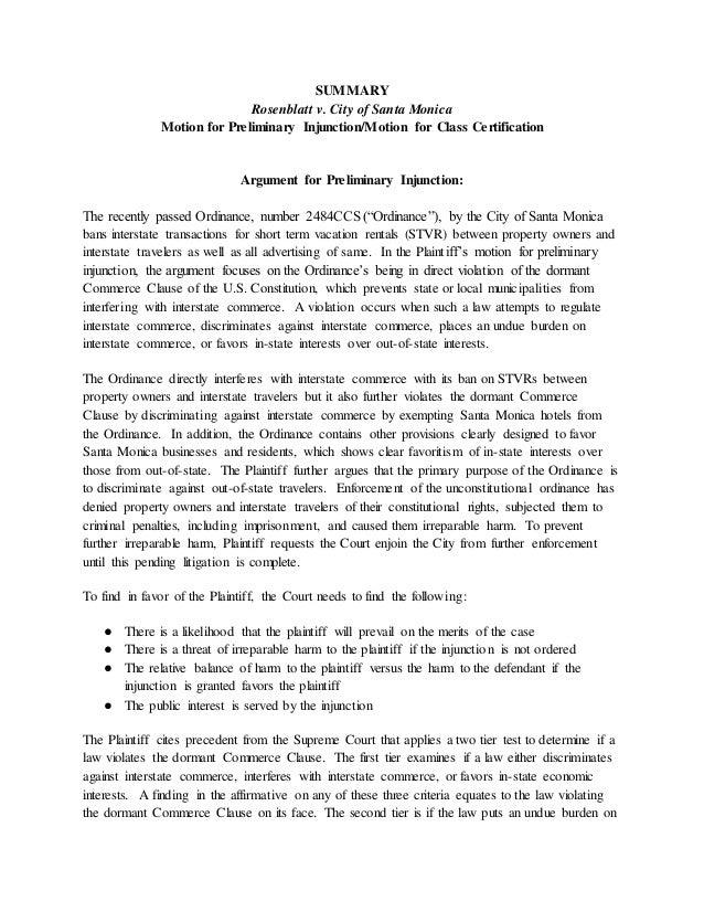 Preliminary Injunction Class Certification Rosenblatt V City Of Sant