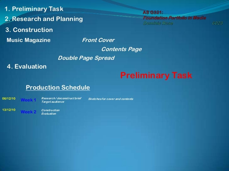 AS G321: Foundation Portfolio in MediaDominic Rose6023<br />1. Preliminary Task<br />2. Research and Planning<br />3. Co...