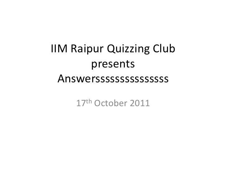 Prelims answers