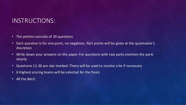 Reflections 2017 Science Quiz Prelims answers Slide 3