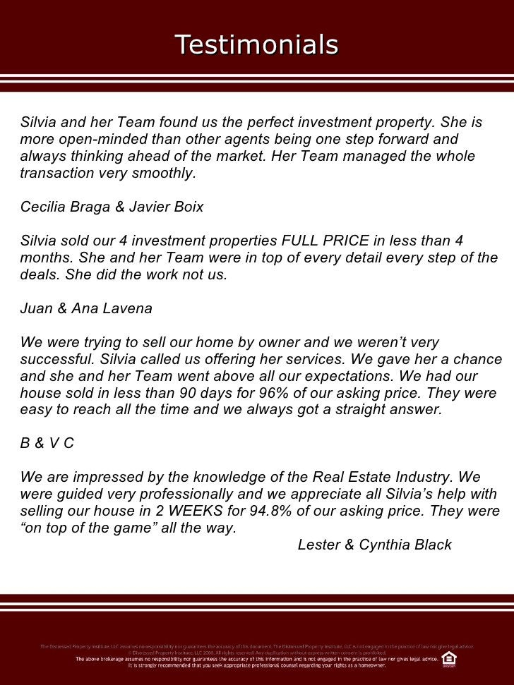 Testimonials Silvia and her Team found us the perfect investment property. She is more open-minded than other agents being...