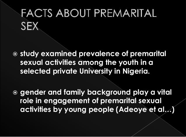 Factors affecting premarital sex standards