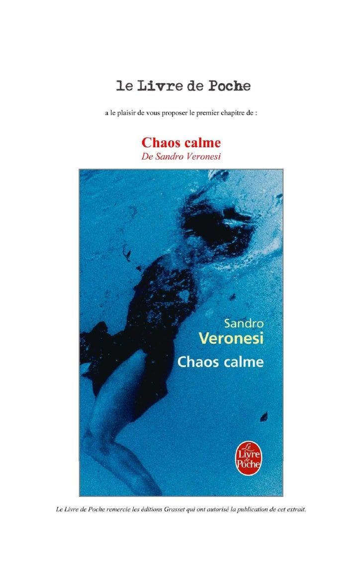 Premier chapitre de Chaos Calme de Sandro Veronesi
