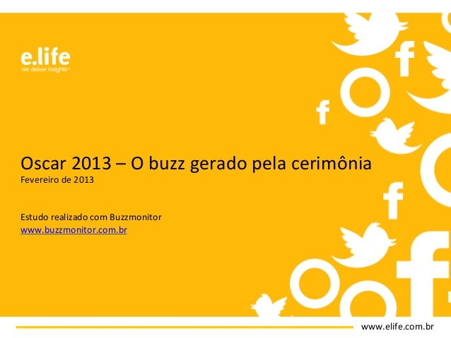 Oscar 2013 – O buzz gerado pela cerimônia Fevereiro de 2013   Estudo realizado com Buzzmon...