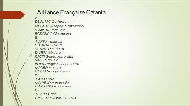 AllianceFrançaiseCatania A2 DE FILIPPO Costanza MILOTTA Giuseppe Massimiliano SAMPIERI Emanuela RODOLICO Giuseppina B1 ALO...
