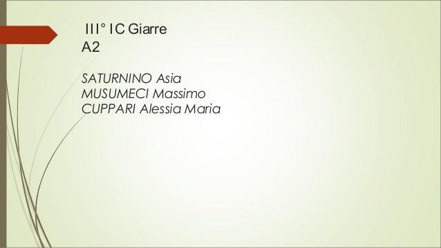 III° IC Giarre A2 SATURNINO Asia MUSUMECI Massimo CUPPARI Alessia Maria