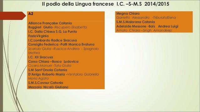 Il podio della Lingua francese I.C. –S-M.S 2014/2015 A2 Alliance Française Catania  Ruggieri Giulio-Recupero Eli...