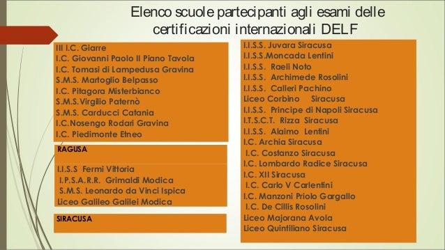 Elenco scuolepartecipanti agli esami delle certificazioni internazionali DELF III I.C. Giarre I.C. Giovanni Paolo II Piano...