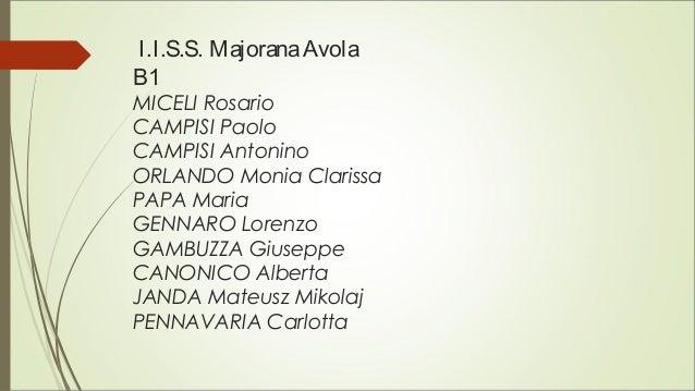 I.I.S.S. MajoranaAvola B1 MICELI Rosario CAMPISI Paolo CAMPISI Antonino ORLANDO Monia Clarissa PAPA Maria GENNARO Lorenzo ...