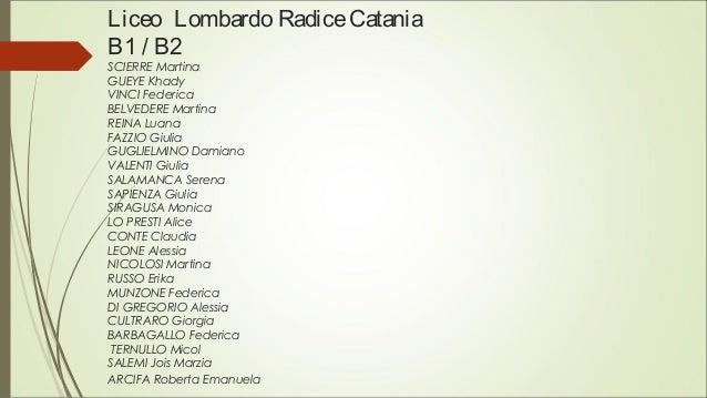 Liceo Lombardo RadiceCatania B1 / B2 SCIERRE Martina GUEYE Khady VINCI Federica BELVEDERE Martina REINA Luana FAZZIO Giuli...