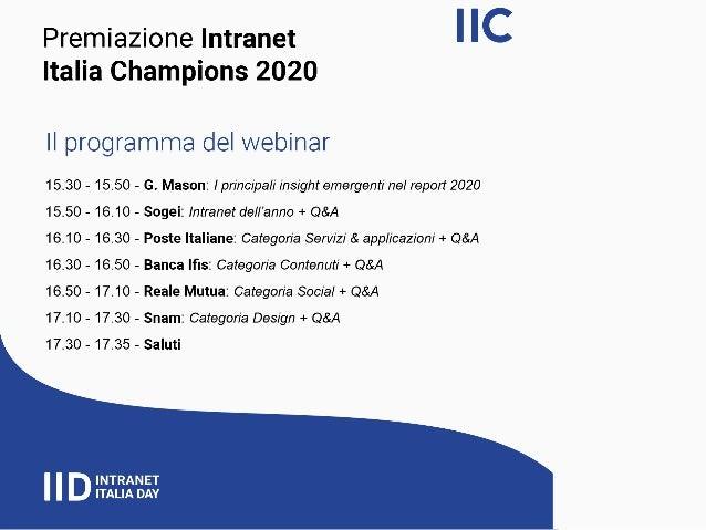 Premiazione intranet italia champions 2020   alcune tendenze - webinar - [intranet management] Slide 2