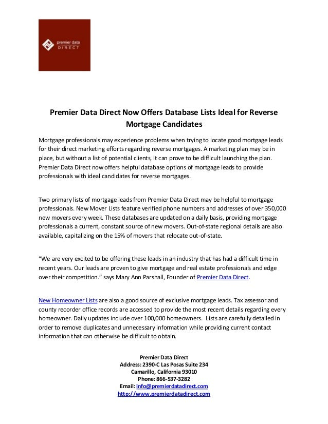 Premier data direct now offers database lists ideal for