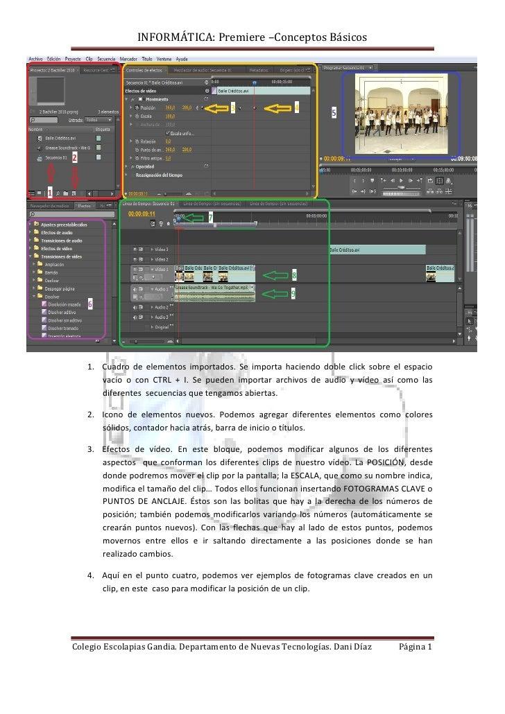 INFORMÁTICA: Premiere –Conceptos Básicos        1. Cuadro de elementos importados. Se importa haciendo doble click sobre e...