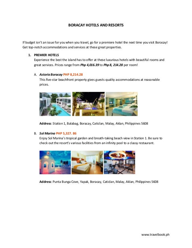 www.travelbook.phBORACAY HOTELS AND RESORTSIf budget isn't an issue for you when you travel, go for a premiere hotel the n...