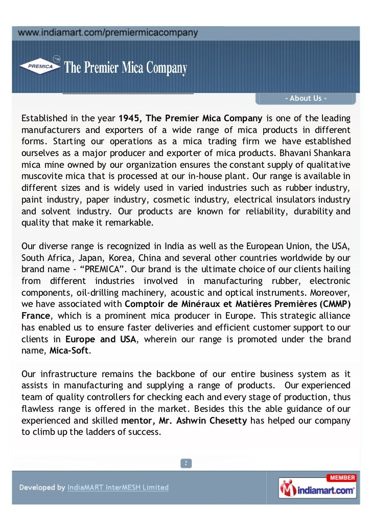 The Premier Mica Company, Chennai, Mica Scrap Slide 2