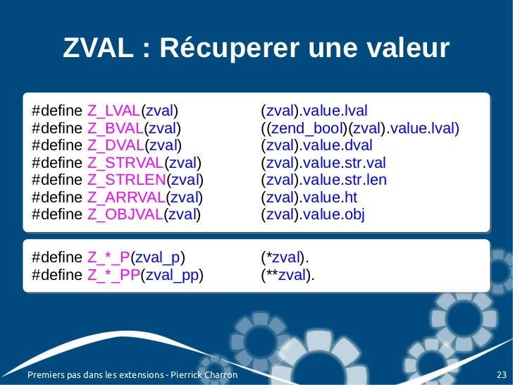 ZVAL : Récuperer une valeur #define Z_LVAL(zval) #define Z_LVAL(zval)                                 (zval).value.lval   ...