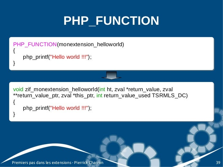 """PHP_FUNCTIONPHP_FUNCTION(monextension_helloworld) PHP_FUNCTION(monextension_helloworld){{   php_printf(""""Hello world !!!"""");..."""