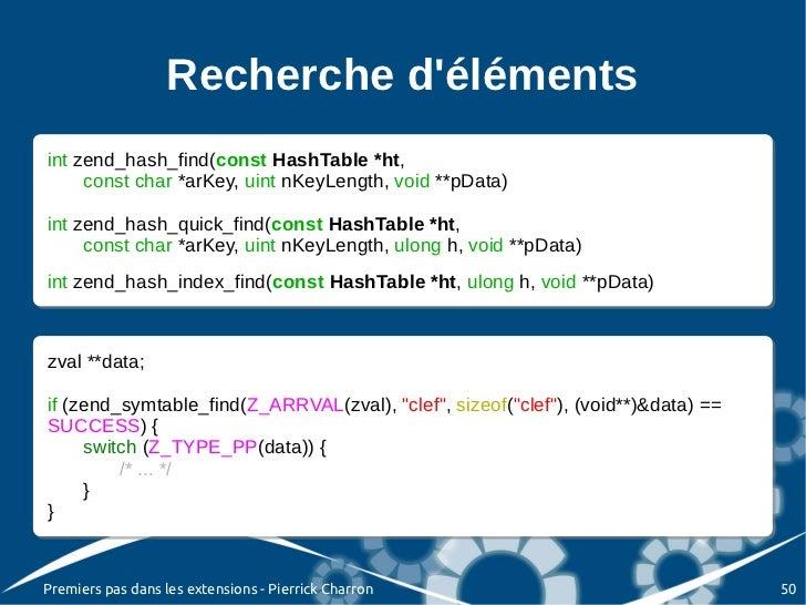 Recherche délémentsint zend_hash_find(const HashTable *ht, int zend_hash_find(const HashTable *ht,      const char *arKey,...