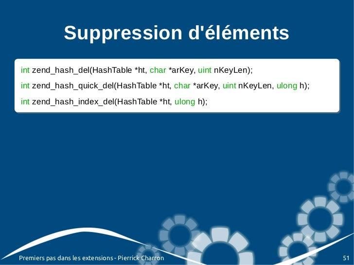 Suppression délémentsint zend_hash_del(HashTable *ht, char *arKey, uint nKeyLen); int zend_hash_del(HashTable *ht, char *a...